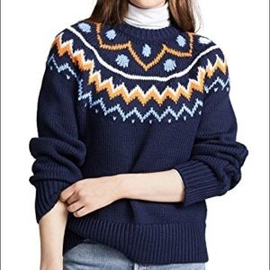 Tory Sport Navy Chalet Fairisle Cable Sweater - XS